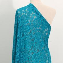 Tela de encaje elástico de Nylon de 2 yardas/lote para opciones de costura de vestido de novia vestido, tejido de encaje de punto elástico