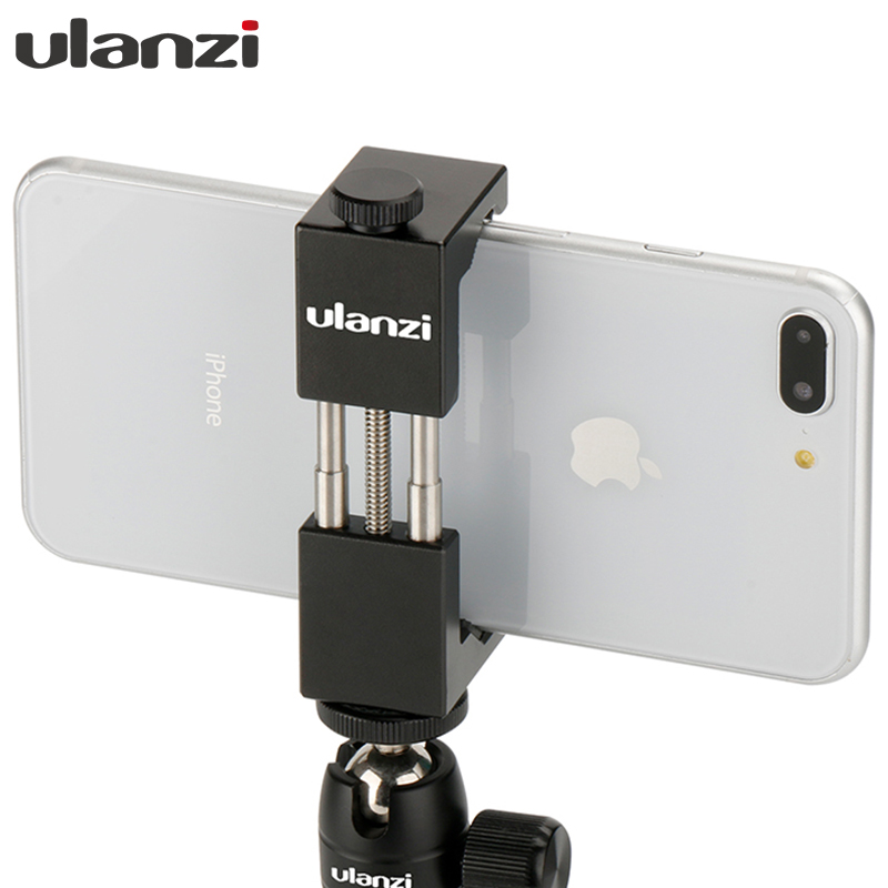 Ulanzi Smartphone Tripod Mount Holder Clamp Aluminum CNC Metal Universal Tripod Clip for iPhone X iPhone 7plus Samsung Vlog Gear