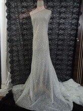 Melhor qualidade africano bordado de lantejoulas tule francês laço de tecido de malha com cola glitter para o casamento