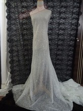 Najlepsza jakość afryki cekiny hafty francuski tkanina z koronki tiulowej z klejonego brokat na ślub