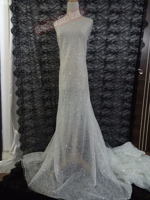 best quality african sequins embroidery french tulle mesh lace fabric with glued glitter for wedding
