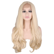 QQXCAIW Handmade Natural Hairline Glueless Lace Front Wig For Women Blonde Body Wave Heat Resistant Fiber Synthetic Hair Wigs free shipping new arrival cheap long natural straight blonde synthetic lace front wig glueless heat resistant hair women wigs