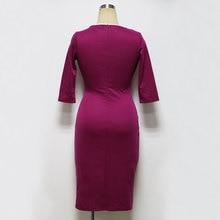 Plus Size 3XL 2017 Summer Dress Patchwork Vintage Balck Office Work Women Dresses 3/4 Sleeve Sheath Bodycon Pencil Party Dress