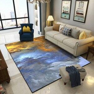 Image 2 - 抽象美しい雲青、金、白ホームベッド玄関エレベーター床マットソファコーヒーテーブルスリップカーペット