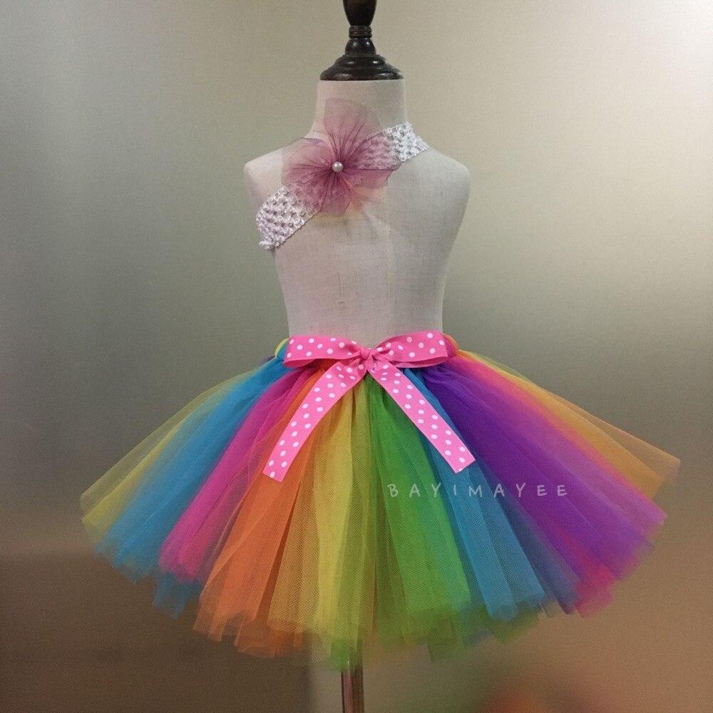 f810a93b6 Faldas tutú arco iris para niñas, falda de tul mullida para bebés, faldas  para baile de Ballet, ...