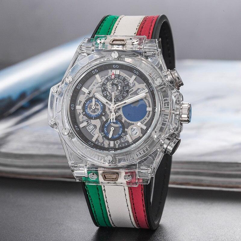 Sport hommes marque de luxe célèbre Unique Designer montre à Quartz homme montre silice hommes Relogio Masculino chronomètre Six aiguilles