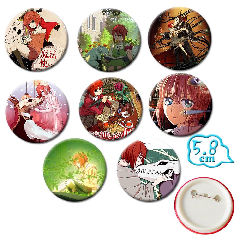 OHCOMICS 8 PCS Anime The Aneient Magus Badges Chise Hatori Elias Einzwis PVC Pins Button Brooch Chestpin Costume Backpack Decor
