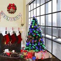 Goplus 5ft 6ft 7ft Fiber Optic LED Lights Artificial Christmas Tree Pre Lit Optical Fiber Trees