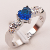 Blue Crystal Zircon White Crystal Zircon925 Sterling Silver Ring Size 5 6 7 8 9 F665 Fashion