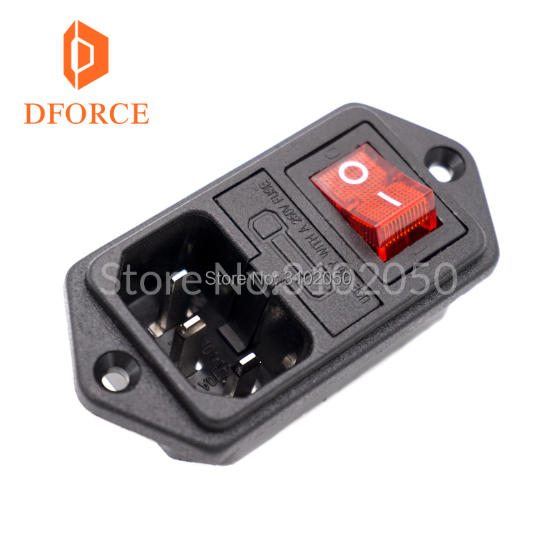 DFORCE 1PCS Trianglelab 3D printer parts 10A 250V 3 in 1 Fuse Power switch AC power outlet For RepRap Free Shipping 3d printer parts on off boat rocker switch 15a 250v power switch ac power outlet with red triple feet of copper with fuse