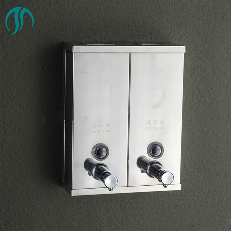 1500ml Stainless Steel Double Shower Dispensers Liquid Soap Dispenser Wall Mounted Shampoo Dispenser Double Soap Dispenser