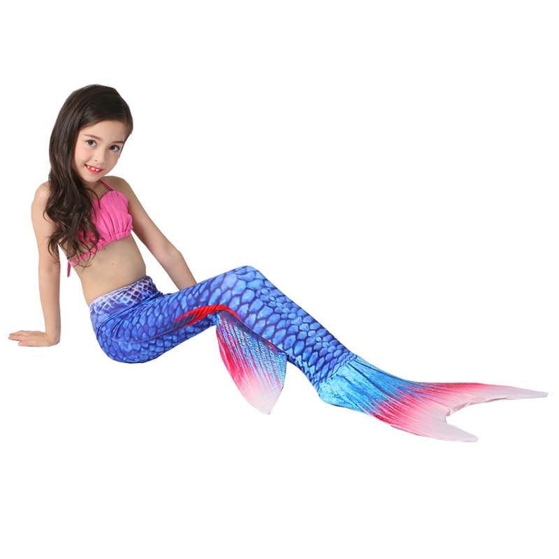 Girls Mermaid Tail Swimming Suit Cosplay Little Girls Fancy Dress Swim Bikini Set -7226