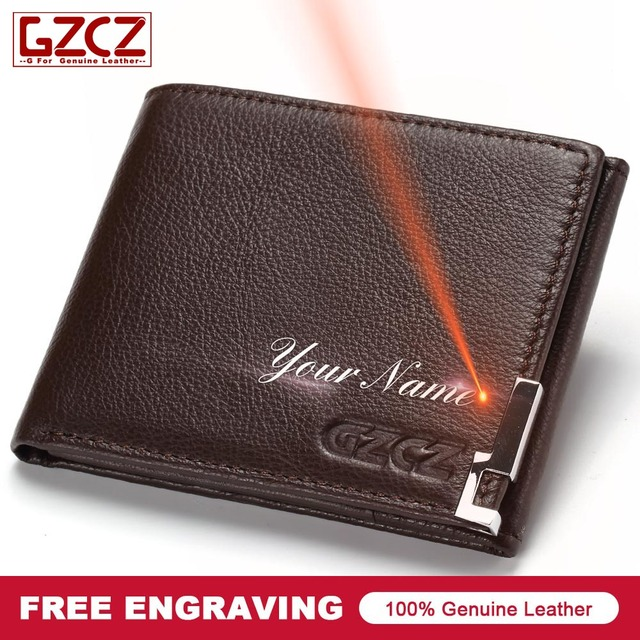 0bafb6a962acb GZCZ DIY Engraving Name Genuine Leather Men Wallet Purse Male Best Phone  Pocket Wallet Case Purse Male Card Holder Carteira 2019