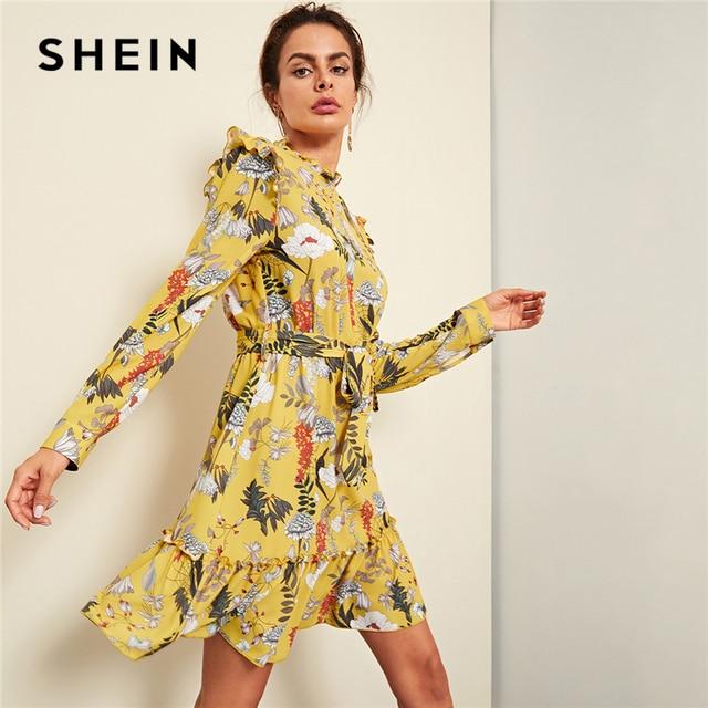 SHEIN Yellow Floral Frill Trim Botanical Dress Elegant Ruffle Button Belted Dresses  Women Vacation High Waist 5aa5e33c6