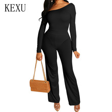 KEXU Elegant Summer Bodycon Sexy Jumpsuit Lady Long Sleeve Hollow Out Rompers Womens Party Streetwear Outfit Clothes