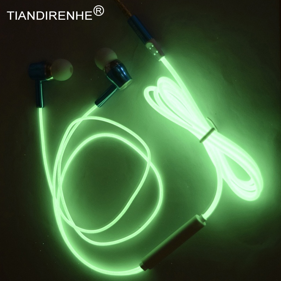 Tiandirenhe Glow In The Dark Earphones Luminous Headphones Night Light Glowing Headset Stereo Sport Headphone for xiaomi huawei