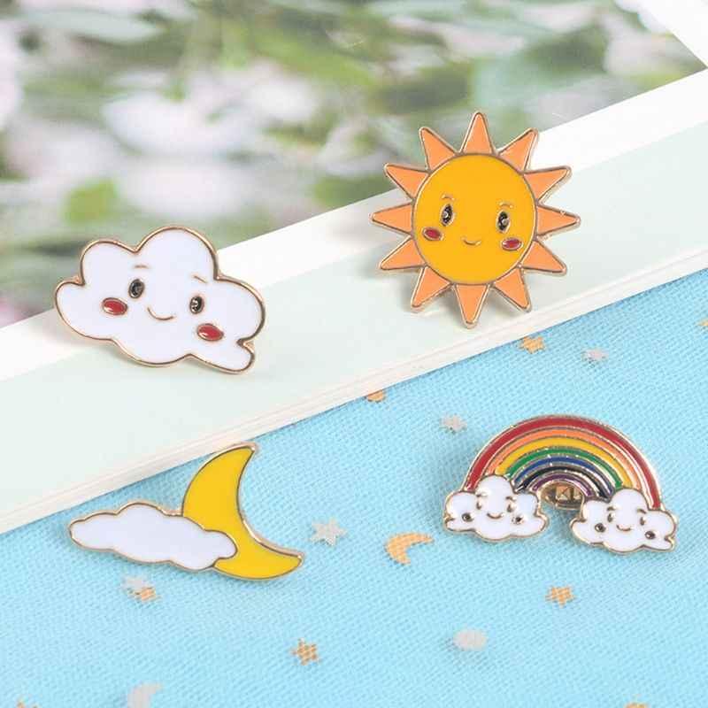 クリエイティブ女の子の宝石かわいい甘いドロップ油漫画ブローチクラウド虹日月形状ブローチピンバックル服 Decoratio