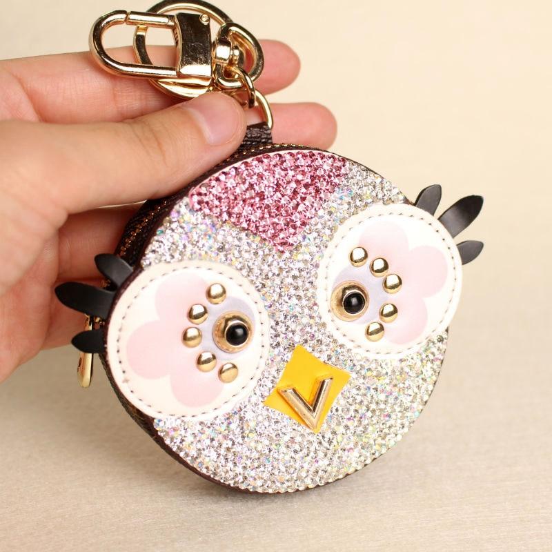 Cute Owl Chicken Crystal Cartoon Anime Coin Purse Keychain Pendant PU Leather Wallet Key Chain For Women Bag Charm