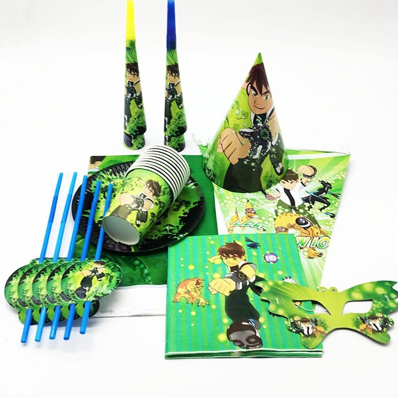 130pcs Ben 10 Birthday Party Supplies Favor Kids Tableware Decor Plates Balloons