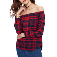2018 Yeni Moda Kadın Ekose Kafes Bluz Uzun Kollu Yaz Düğmesi Tasarımı ile seksi Slash Boyun Gevşek Casual Bluzlar ve Tops