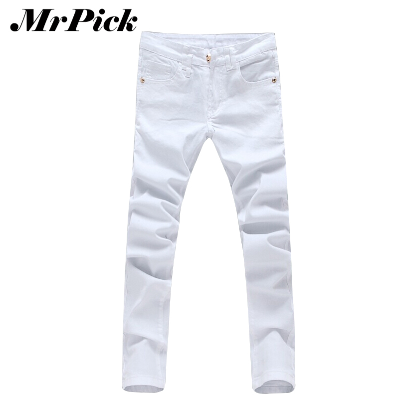 Men Casual White Animal Decoration Jeans 2015 Fashion Spring Popular Slim Skinny Men Trousers Plus Size
