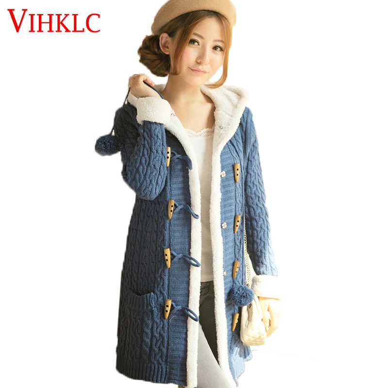 2017 New Winter Women Sweater coat Long sleeve Pure color Single Breasted Hooded Knitted Cardigan Women Sweater Warm Slim L149