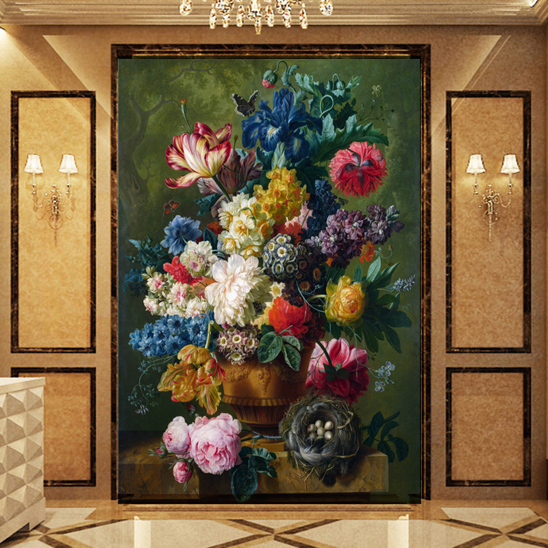 Custom photo Wallpaper 3d wall murals floral painting flower mural wallpaper living room entrance mural wallpaper book knowledge power channel creative 3d large mural wallpaper 3d bedroom living room tv backdrop painting wallpaper