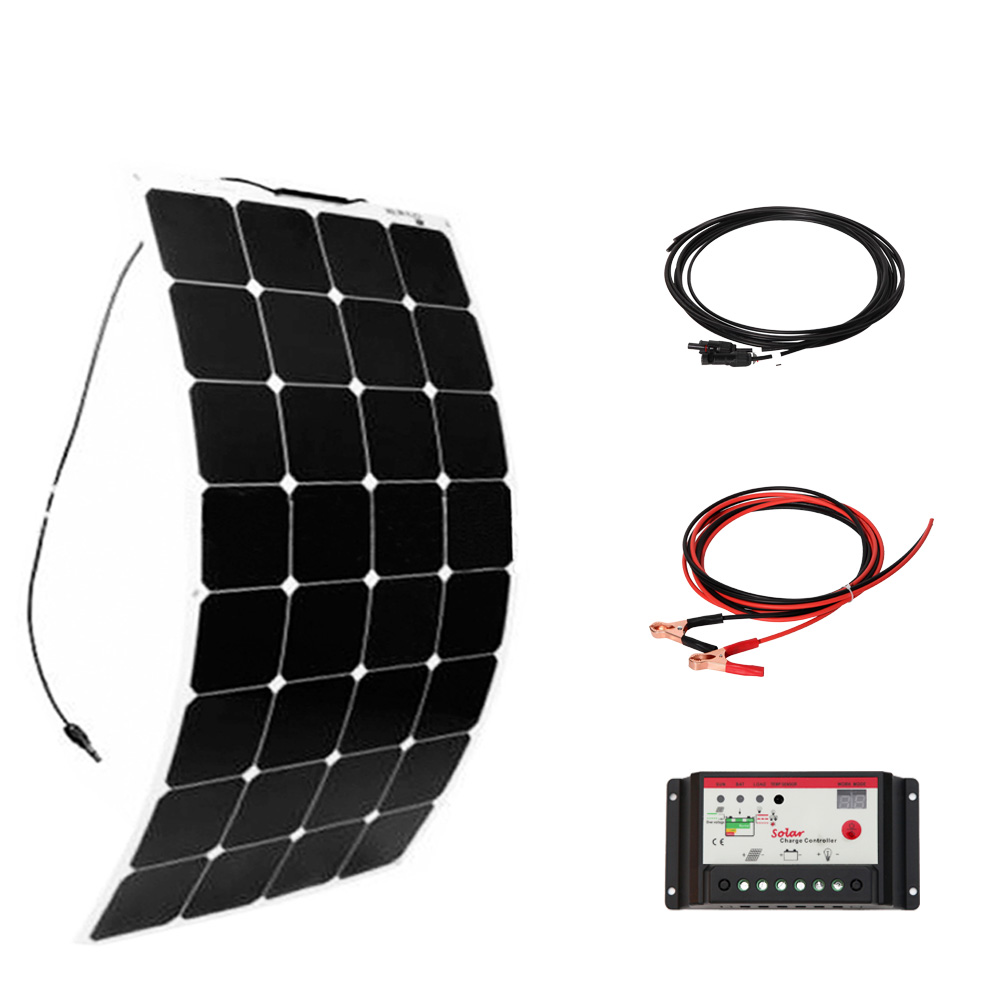 XINPUGANG 100 W 18 v Flexible solar panel System 12 v 100 Watt DIY Kits 10A controller 3 mt MC4 kabel clip Boot RV auto placa solar