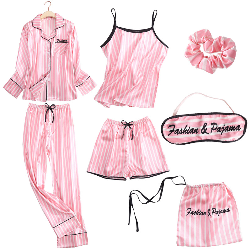 Spring Summer Lady Sleepwear   Set   Stripe Night Cami&Shorts&Shirt&Pants 4PCS   Pajamas     Sets   Ice Silk Nightwear Casual Home Wear