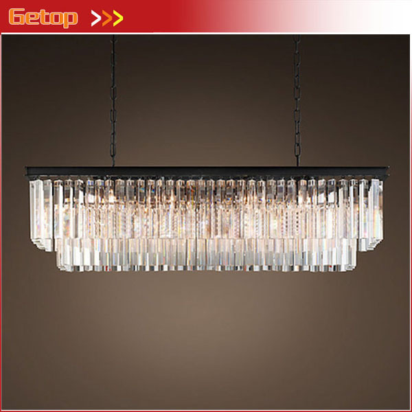 Best Price American Country Crystal Chandelier Dining Room Creative Rectangular Pendant Lamp LED Lighting RH
