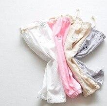 Girls capris 2016 Summer girls Pants smiling face cotton trousers for kids linen Baby Leggings Pants for Girls