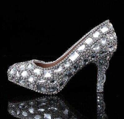 2018 Diamond slipper shoes diamond wedding shoe heel waterproof bride shoes photo party shoes Bridal Dress Shoes Shoes Woman