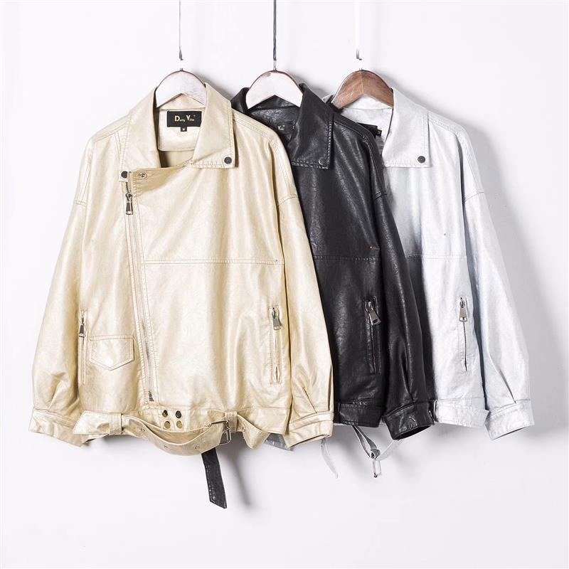 2019 Hot New Arrival Korean Style Chic Motorcycle Jacket Pu Zipper Loose Ladies'   Leather   Jackets With Sash Free Shipping