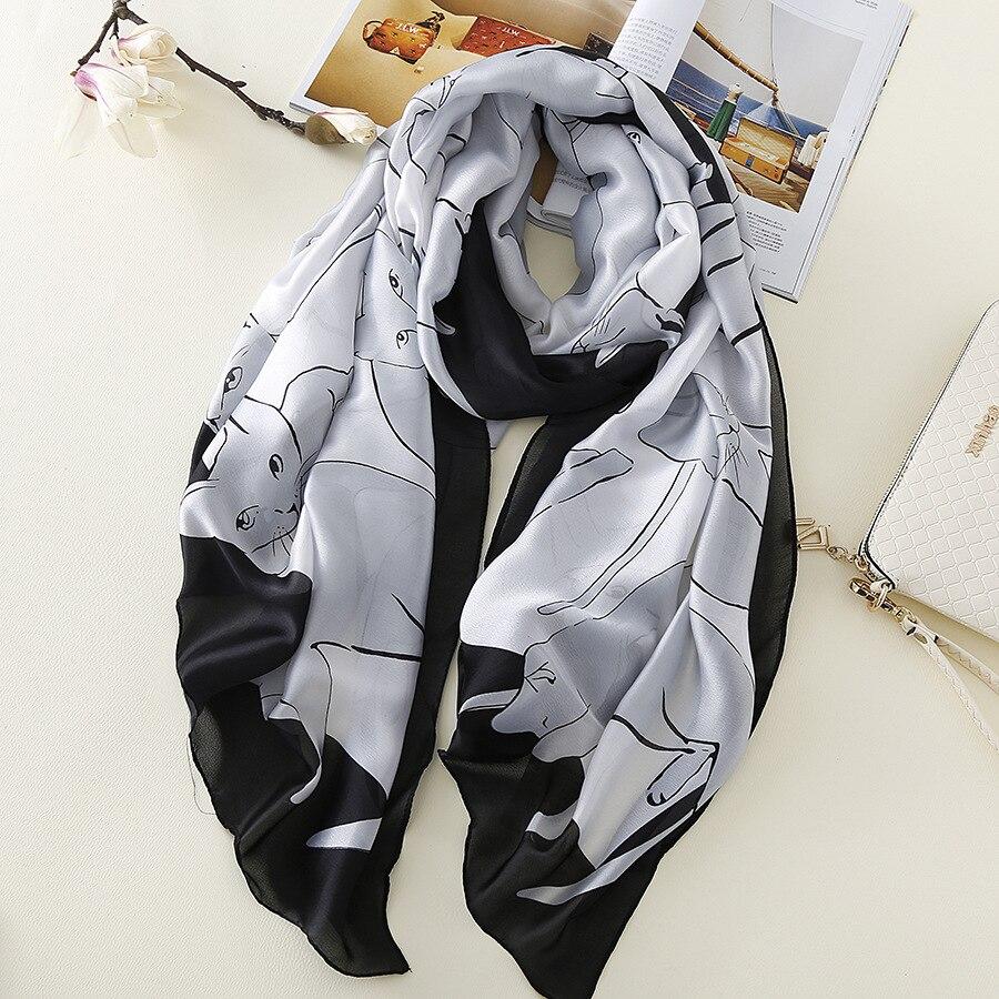 2018 Girls Kids Lovely Animal Silk Shawl Scarf Luxury Brand Cute Cat Pattern Scarves Print Wrap Pashmina Hijabs Foulard Bandanas