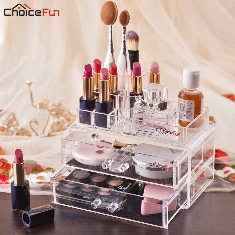 CHOICE FUN Stackable Desk Table Clear Plastic Make Up Storage Box Organiser Acrylic Makeup Cosmetic Organizer With Drawer
