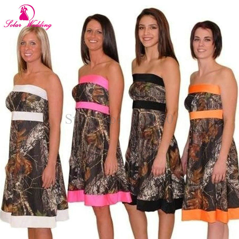 Camouflage Camo Bridesmaid Dresses Strapless Empire A Line Woman Wedding Formal Gowns White Pink Black In From Weddings Events On