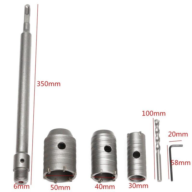 Image 5 - 3 pces 30/40/50mm sds mais haste buraco viu cortador concreto cimento pedra broca de parede com chaveBrocas   -