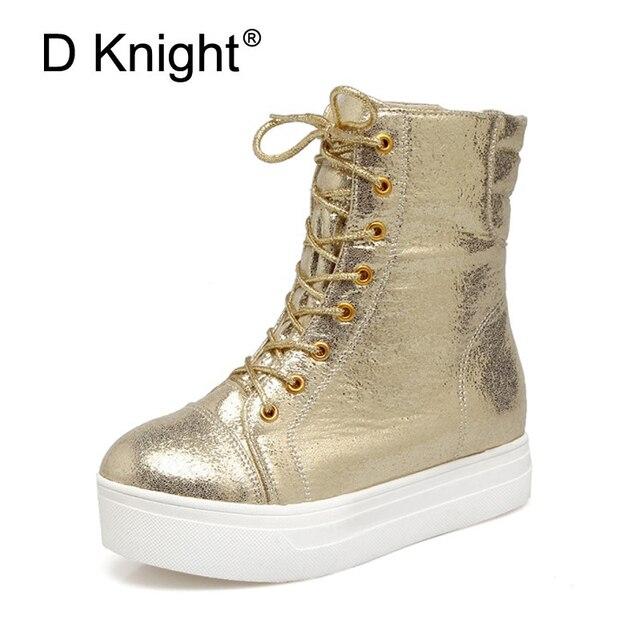 439a3027e جديد السيدات عارضة الدانتيل يصل الكاحل موضة الذهب والفضة السوداء النساء حذاء  2018 منصة الأحذية امرأة