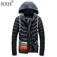 NXH 2017 Winter mannen jassen Hoed Afneembare Mannelijke Warme jassen Winddicht buitenste dragen Rits binnenzak Hooded Solid