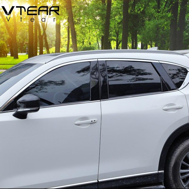 Vtear For hyundai Kona Encino car window BC column decorative sticker trim mirror reflection panel font