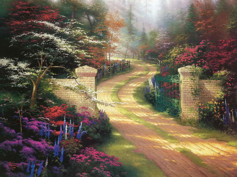 Spring Gate Thomas Kinkade Hd Canvas Print Living Room -7674
