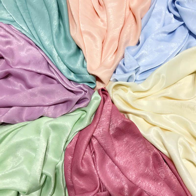 Satin Crepe Chiffon Fabric Fluorescent Silk Satin Crepe Glazed Brocade High-grade Impermeable Chiffon Dress