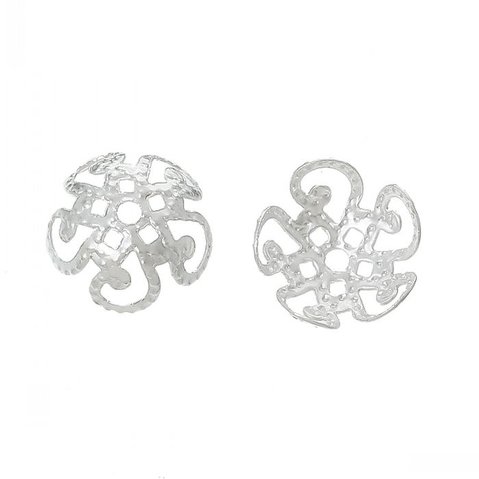 DoreenBeads Beads Caps Flower silver color(Fit 10.0mm Beads)10.0mm x 10.0mm,1000 PCs