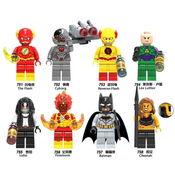 Super Hero LEGOING Marvel Figures Cheetah Reverse Luthor Cyborg Lobo Firestorm Model Building Blocks Bricks font