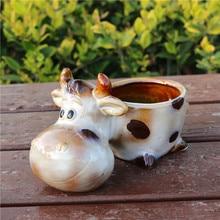 Creative Porcelain Milk Cow Miniature Flower Pot Decor Ceramics Ox Succulent Planter Novelty Craft for Room, Balcony and Garden