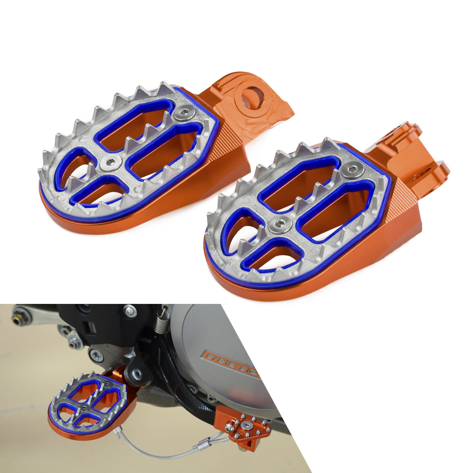 Racing Foot Pegs Rests Pedals For KTM EXC EXCF XC XCF XCW SX SXF 65 85 125 250 350 450 525 530 690 950 990 1190 1290 SMC ENDURO
