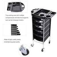 Hair Salon Instrument Storage Cart Adjustable Height Trolley Beauty Tools with 5 Drawers