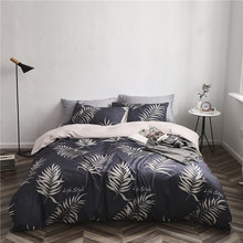 4Pcs Duvet Cover Set Bedding Set Bed Sheet Home Pillowcases Full Queen King Plant Grey Leaf Picture New Fashion Design(China)