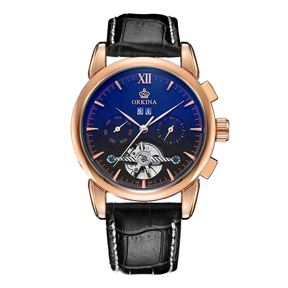 Watches Men Luxury Brand ORKINA Automatic Mechanical Watch Waterproof Perpetual Calendar Leather Wristwatch relogio masculino