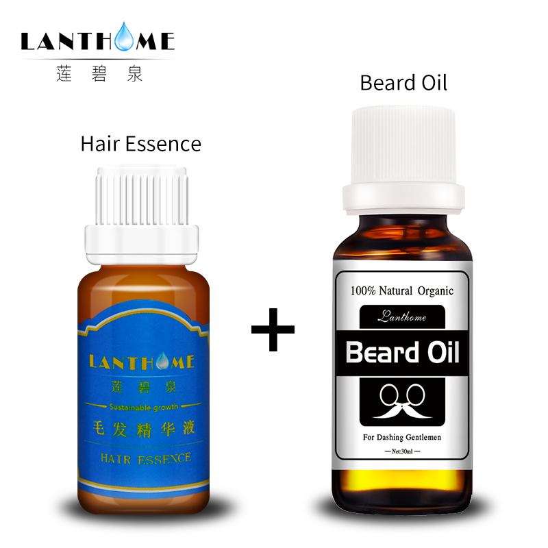 Lanthome 100% natural beard essential oil growth bottle strengthen the beard growth spray style care wax for beard and mustache